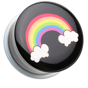 Rainbow On Clouds Single Flared Ear Gauge Plug