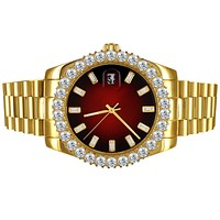 Stainless Steel 41mm Red Baguette Dial Icy Bezel Watch