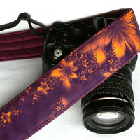 Flowers Camera Strap. DSLR Camera Strap. Orange Purple Camera Strap. Accessories. Etsy Gifts. Gifts for Her. Womens Camera Strap