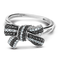 Diamond and Black Diamond Bow Fashion Ring 1/3ctw