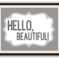 Hello, Beautiful! Adorable Shabby Chic Typography Poster