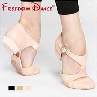 Genuine Leather Stretch Jazz Dance Shoes For Women Ballet Jazzy Dancing Shoe Teachers's Dance Sandals Excercise Shoe