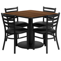 Square Walnut Laminate Table Set with 4 Ladder Back Metal Chairs - Black Vinyl Seat