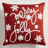 Embroidered Merry & Jolly Mini Pillow