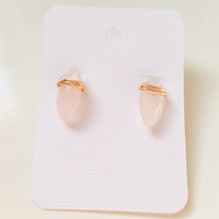Rose Quartz Gemstone Drop Studs