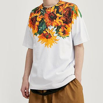 Men Tshirt Flowers and Plants Printing Oversized Loose Fit Tshirt for Men Cotton Harajuku Men Funny T Shirts
