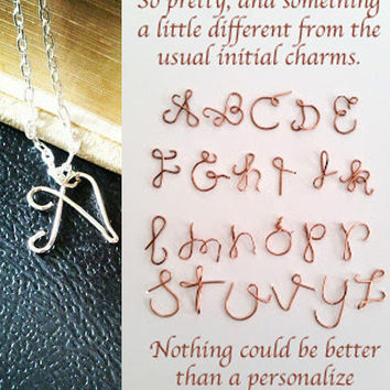 Sterling Silver Initial Necklace Personalized Alphabet Pendant | Handmade by LaLaMooD