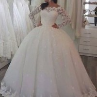 Sheer Long Sleeves Ivory Wedding Dresses Bridal Gowns Custom Size 2 4 6 8 10 12