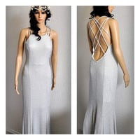 Backless Grecian Dress with Maxi Shawl Romantic dress Game of Thrones inspired Evening Gown Ancient Greek Goddess Sparkling Silver