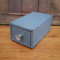 Vintage Small Industrial Gray Card File Drawer Cabinet