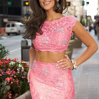 Jovani 24241 In Stock Hot Pink Size 2 Lace 2 Piece Prom Dress SALE