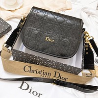 Dior Fashion New Leather Shoulder Bag Crossbody Bag Black