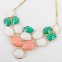 Fashion Gold Tone Chain Jewelry Ellipse Pink Blue White Resin Pendant Necklace