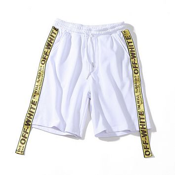 Off White New fashion letter string mark shorts White