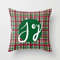 Holiday Plaid Joy - Green Throw Pillow by Lisa Argyropoulos