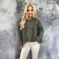 Judi Cable Knit Olive Hoodie