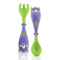 Nuby Spoon and Fork Set, 3-D Monster