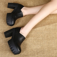 High-heeled leather waterproof shoes