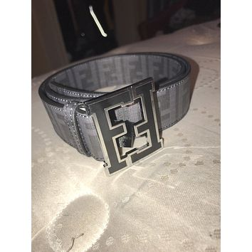 mens Black/grey fendi belt Designer Fashion Belt Size 90/36