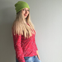Knit hat, Summer Hat, Summer Knit Hat, Knit Beanie, Green Beanie, Cotton Beanie, Skull Cap, Lightweight Beanie, Beach Hat,Womens Summer Hats