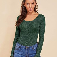 Form Fitting Ribbed Knit Tee