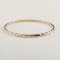 Ready To Ship, Solid 14k Gold Ring, Stacking Ring, Hammered Texture, Skinny Ring, Size 8.5, Gold Stacking Ring, Midi Ring, Stackable Ring