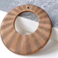 Large Wooden Earring Pendant Striped Pattern Round Cirlce Rings  60mm Set of 10 A8041