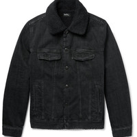 A.P.C. - Faux Shearling-Lined Washed-Denim Jacket