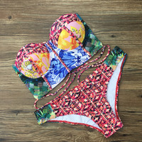 Swimsuit Hot Beach New Arrival Summer Vintage High Waist Print Sexy Swimwear Bikini [10603728399]