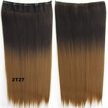 """Dip dye hairpieces New Fashion 24"""" Women Clip in on gradient wig Bath & Beauty Hair Ombre Hair Extensions Two Tone Straight hair Gradient Hair Extension Colorful Hairpieces GS-666 2T27,1PCS"""