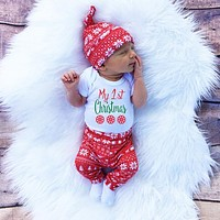 3pcs Cute Newborn Baby Boys Girls First Christmas Clothes Printed Long Sleeve Rompers+Pants Trousers+Hat Outfits Clothing Set