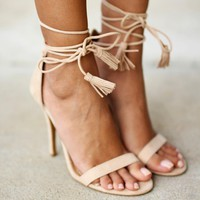 Nude Strappy Heels with Tassels