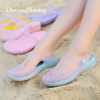 DreamShining Summer Women Hole Shoes High Quality Multicolor Garden Shoes Girls Beach Flat  Brand Garden Shoes