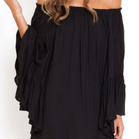 Black Off-shoulder Chiffon Long Sleeve Ruffled Mini Dress