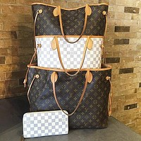Louis Vuitton LV Fashion Leather Handbag Women Shopping Leisure Shoulder Bag Two Piece Suit