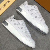 LV Louis Vuitton tide brand wild casual low to help small white shoes White+silver letters