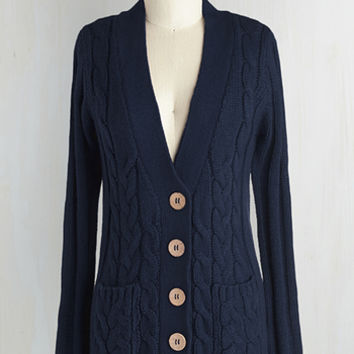 Scholastic Mid-length Long Sleeve Your Fireside of the Story Cardigan in Navy