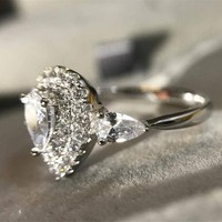 Petite Pavé Pear CZ Halo Ring - White or Pink CZ
