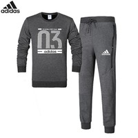 Adidas Number 03 autumn and winter new sports and leisure plus velvet warm two-piece grey