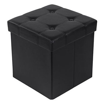 """Songmics 14 7/8"""" Upholstered Storage Ottoman Cube Folding Footrest Coffee Table Faux Leather Black ULSF30B"""