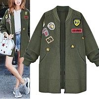 Bomber Jacket Coat Spring Autumn Jacket Women Tops Long Sleeve Slim Army Green Outwear Women Baseball Coat Jacket
