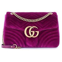 Gucci Winter Classic Fashionable Leather Velvet Shouder Bag Handbag Crossbody Satchel Purple