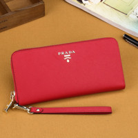 Prada Women Leather Zipper Wallet Purse- Red