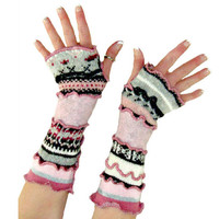 Upcycled Arm Warmers, Pink & Gray Arm Warmers, Upcycled Clothing, Fingerless Gloves, Boho Arm Warmers, OOAK Arm Warmers, Tech Gloves