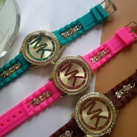 MK Fashion Diamonds Chain Silicone Watch Watches Wrist Watch