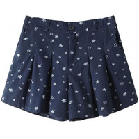 Navy Star Print Pleated Wide Leg Shorts