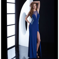 Midnight Blue Beaded Illusion Cutout Gown