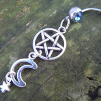 pentagram belly ring Wiccan belly ring moon belly ring pentacle belly ring goth belly ring in fantasy Wicca wiccan witch magic hipster style