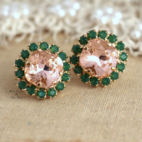 Blush vintage pink peach peridot green Crystal stud earring - 14k 1 micron Thick plated gold post earrings real swarovski rhinestones.