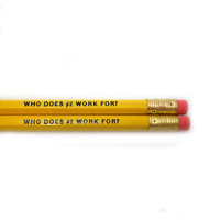 Set of 2 Who Does #2 Work For Pencils Austin Powers Quote in Yellow